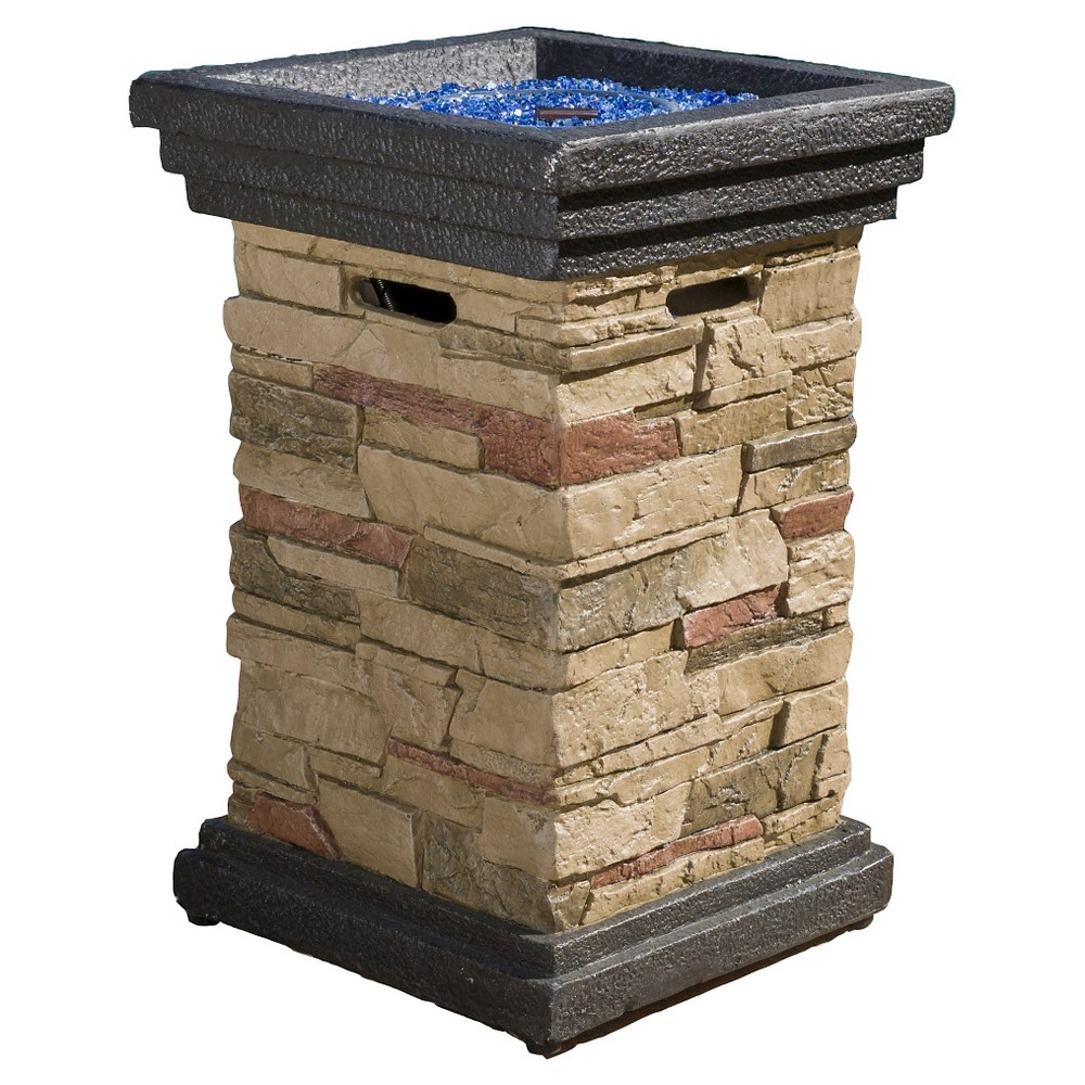 Chesney 19.50 Mgo Gas Fire Column - Square - Natural Stone (Grey) - Christopher Knight Home