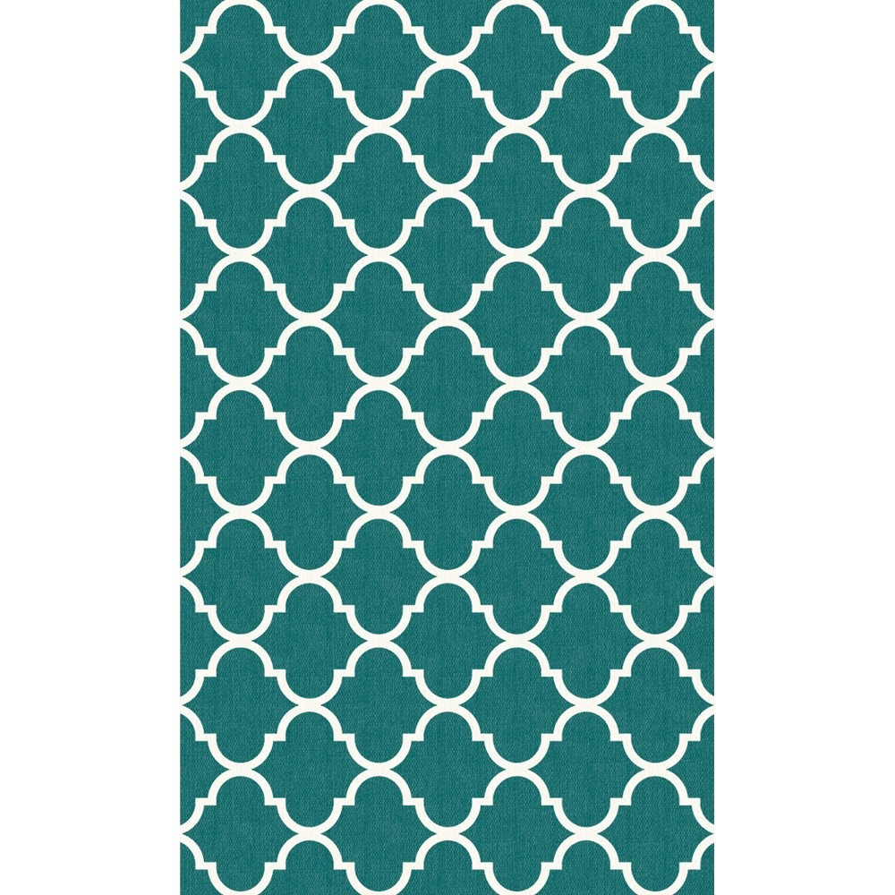 Teal (Blue) Trellis Woven Accent Rug 3'X5' - Ruggable