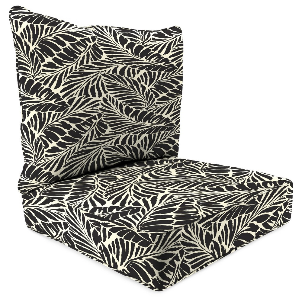 Outdoor Set Of 2PC Deep Seat Chair Cushion In Malkus Black - Jordan Manufacturing, Almond Oil