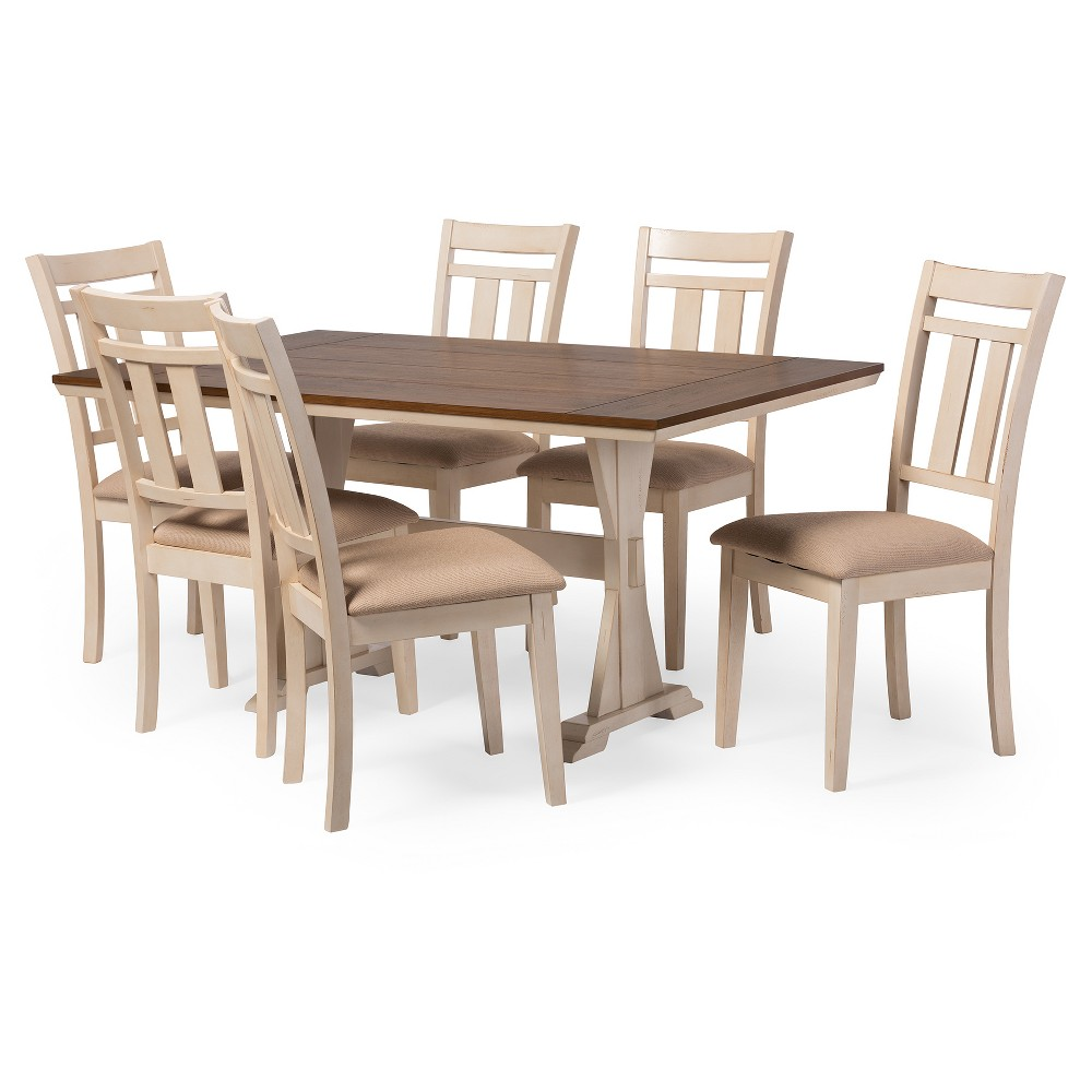 Roseberry Shabby Chic French Country Cottage Antique Oak Wood & Distressed White 7-Piece Dining Set - Baxton Studio, Desert