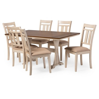 Roseberry Shabby Chic French Country Cottage Antique Oak Wood U0026 Distressed  White 7 Piece Dining Set   Baxton Studio