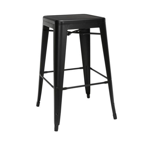 "Set of 4 30"" Industrial Modern Backless Bar Height Galvanized Steel Indoor/Outdoor Bar Stool - OFM - image 1 of 4"
