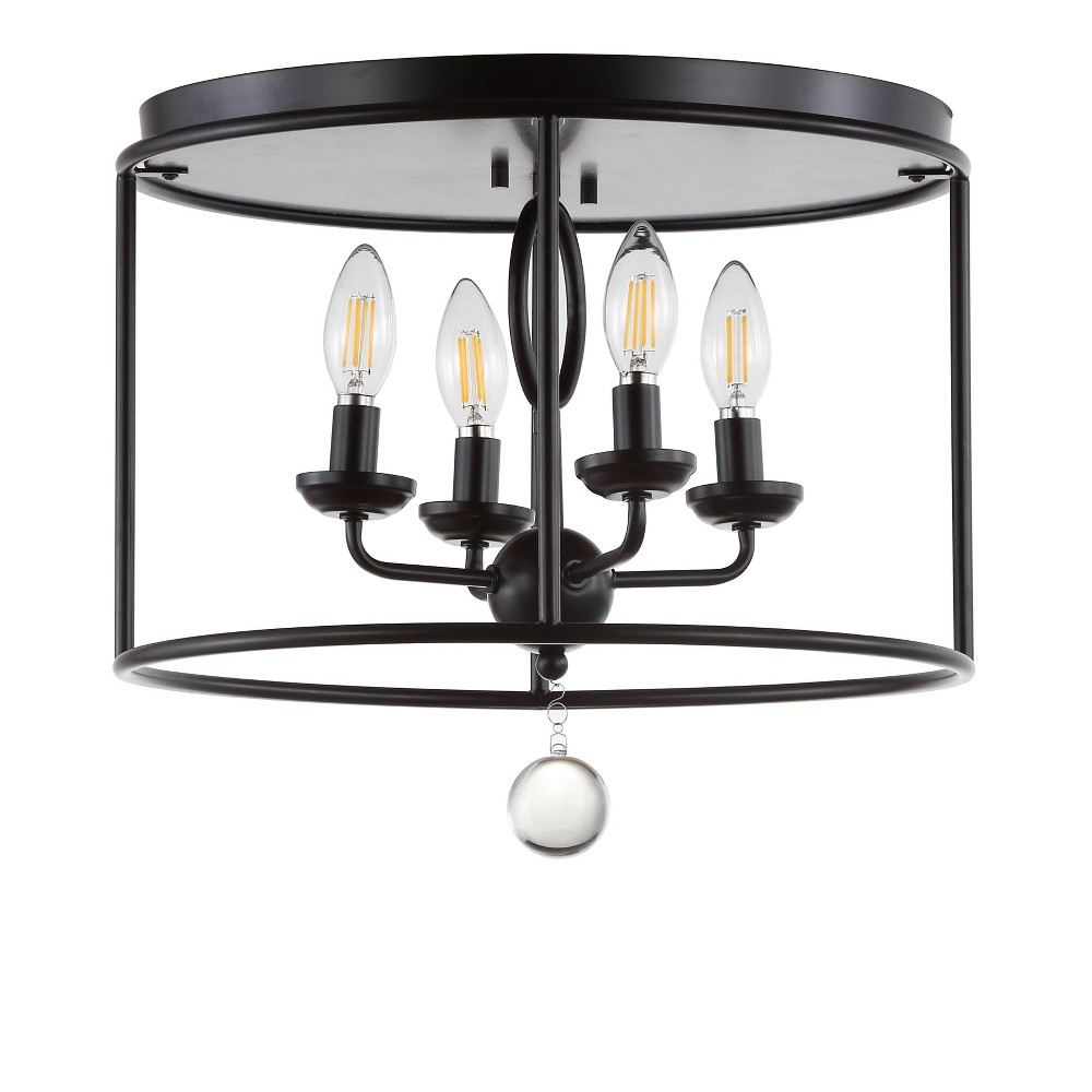"Image of ""16"""" Alma Metal LED Flush Mount Black (Includes Energy Efficient Light Bulb) - JONATHAN Y"""