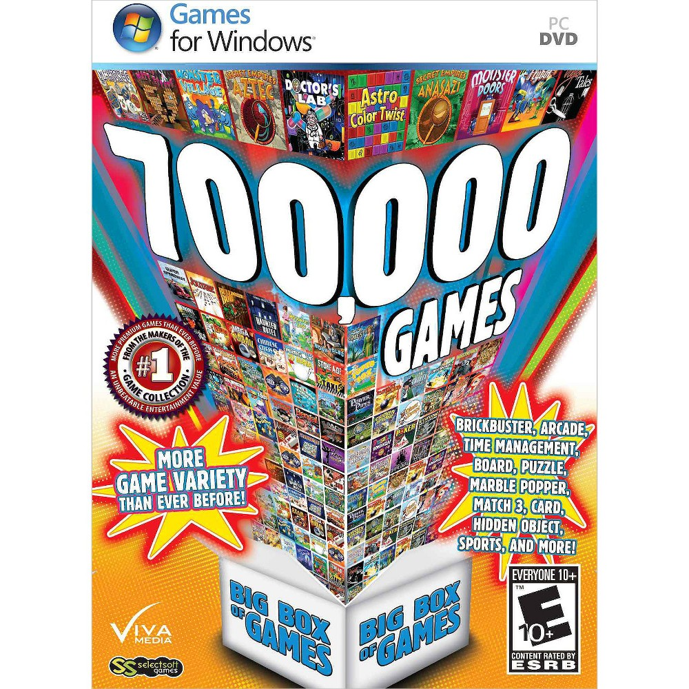 700,000 Games: Big Box of Games PC Game Bored? 700,000 Games: Big Box of Games for PC should do the trick! This giant collection of computer games is great for the entire family and offers so many choices there's bound to be one each family member will love. Choose from card games, board games, arcade games, puzzle games, sports games and a whole lot more. Rated E 10+, for everyone 10 and up.