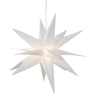 """Northlight 22"""" White LED Lighted Foldable Moravian Star Hanging Christmas Decoration"""