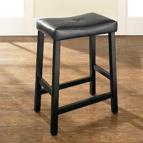 Upholstered Saddle Seat Bar Stool Set Of 2 Black 24 Crosley Target