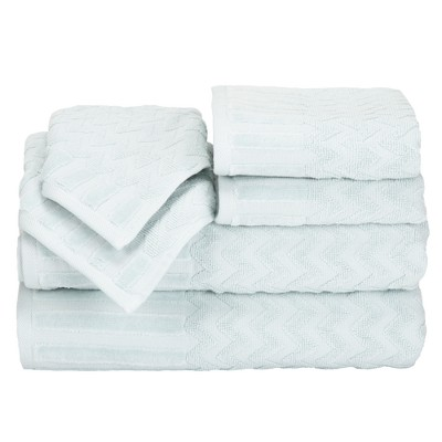 Chevron Bath Towels And Washcloths 6pc Seafoam - Yorkshire Home