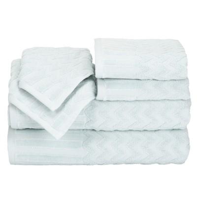 6pc Chevron Bath Towel and Washcloth Set Seafoam - Yorkshire Home