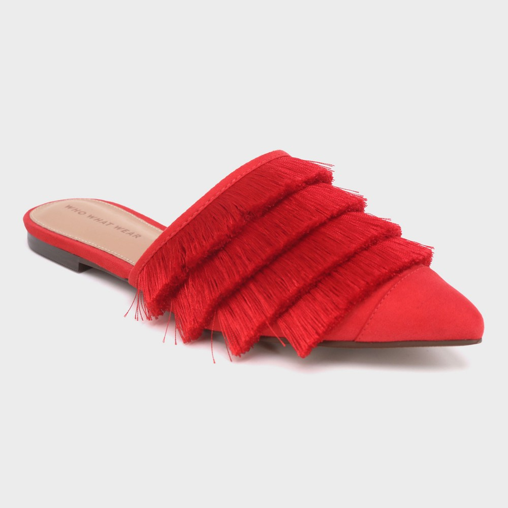 Women's Annie Satin Tassle Pointed Mules - Who What Wear Red 9