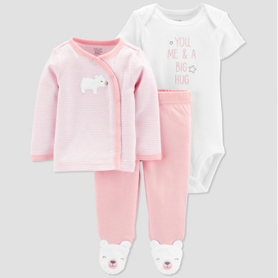 Baby Girls' 3pc Top and Bottom Set - Just One You® made by carter's Pink/White 9M