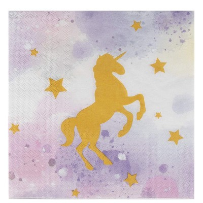 Juvale 100-Pack Purple Unicorn Disposable Paper Napkins Kids Party Supplies 6.5 In