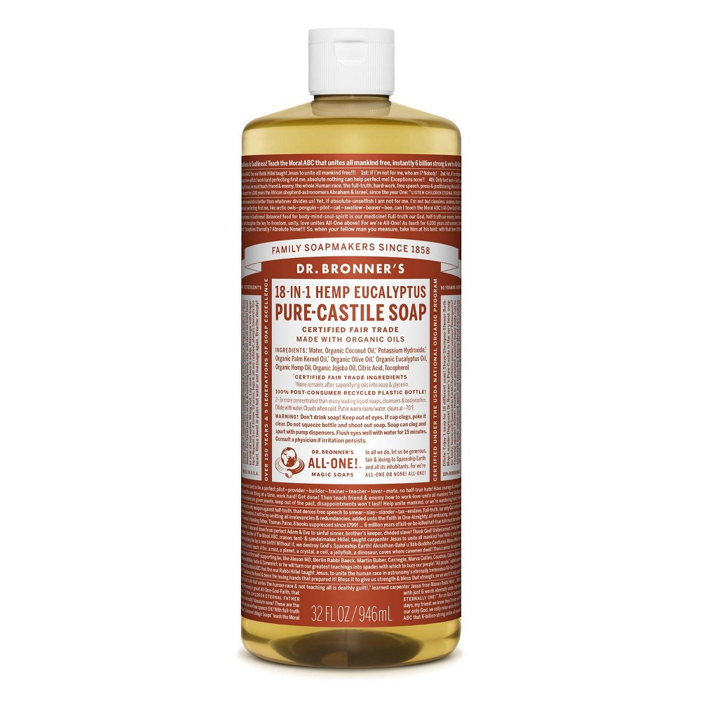 Image of Dr. Bronner's 18-In-1 Hemp Pure-Castile Soap - Eucalyptus - 32 fl oz