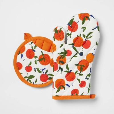 2pc Cotton Oranges Oven Mitt and Pot Holder Set - Opalhouse™