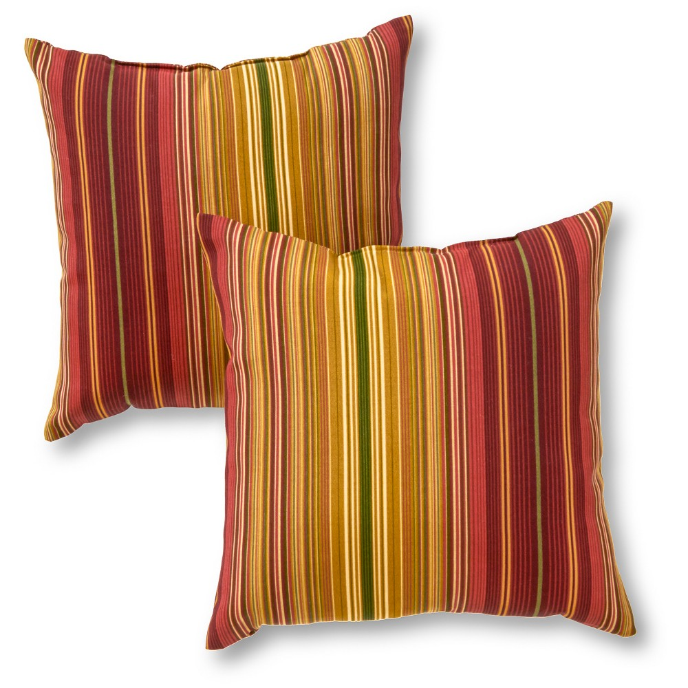 Set of 2 Kinnabari Stripe Outdoor Square Throw Pillows - Kensington Garden