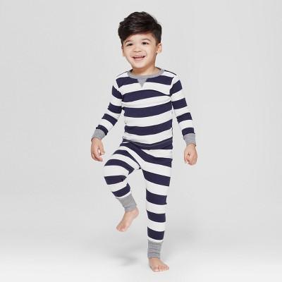 Toddler Striped Pajama Set - Navy 3T