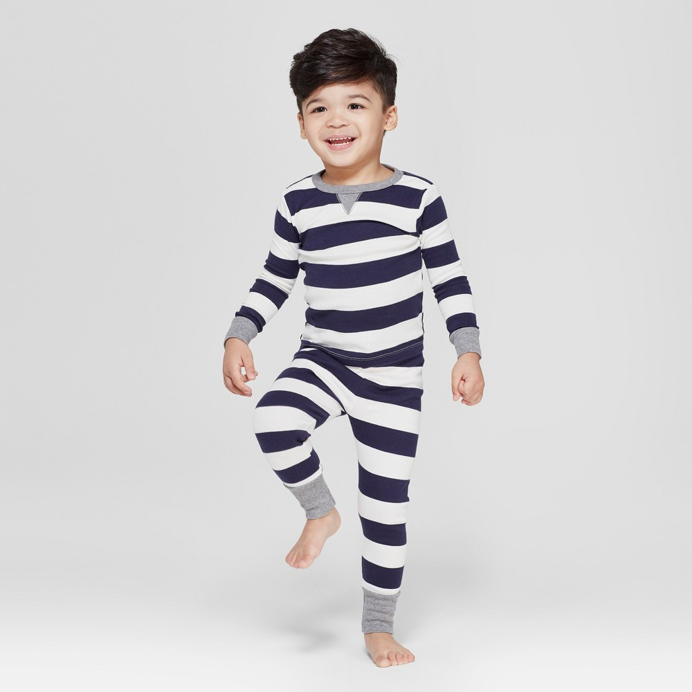 Image of Toddler Striped Pajama Set - Navy 18 M, Adult Unisex, Size: Medium, Blue