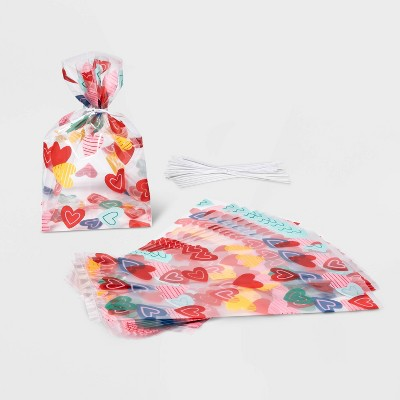20ct Cellophane Heart Print Treat Bags - Spritz™