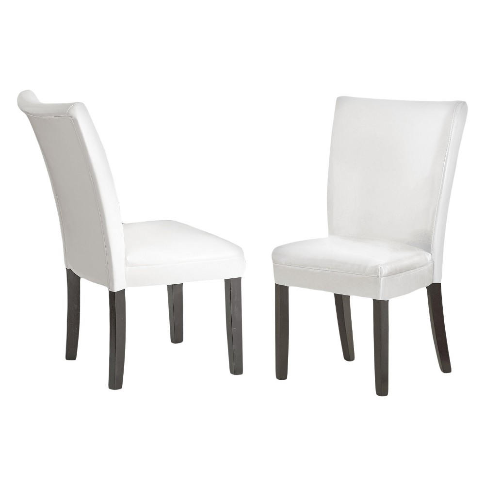 Margo Bonded Leather Parsons Chairs Wood/White (Set of 2) - Steve Silver Company