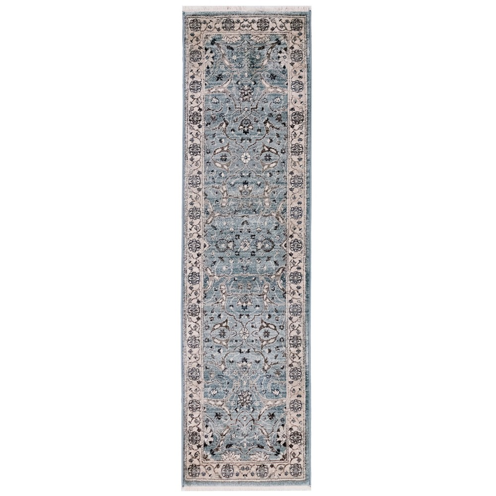 Image of 2'X8' Shapes Woven Runner Rug Aqua - Liora Manne, Blue