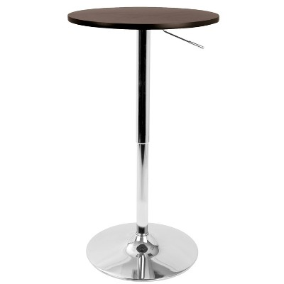 "Contemporary 23.5"" Adjustable Bar Height Pub Table Wood/Espresso Brown with Chrome Frame - LumiSource"