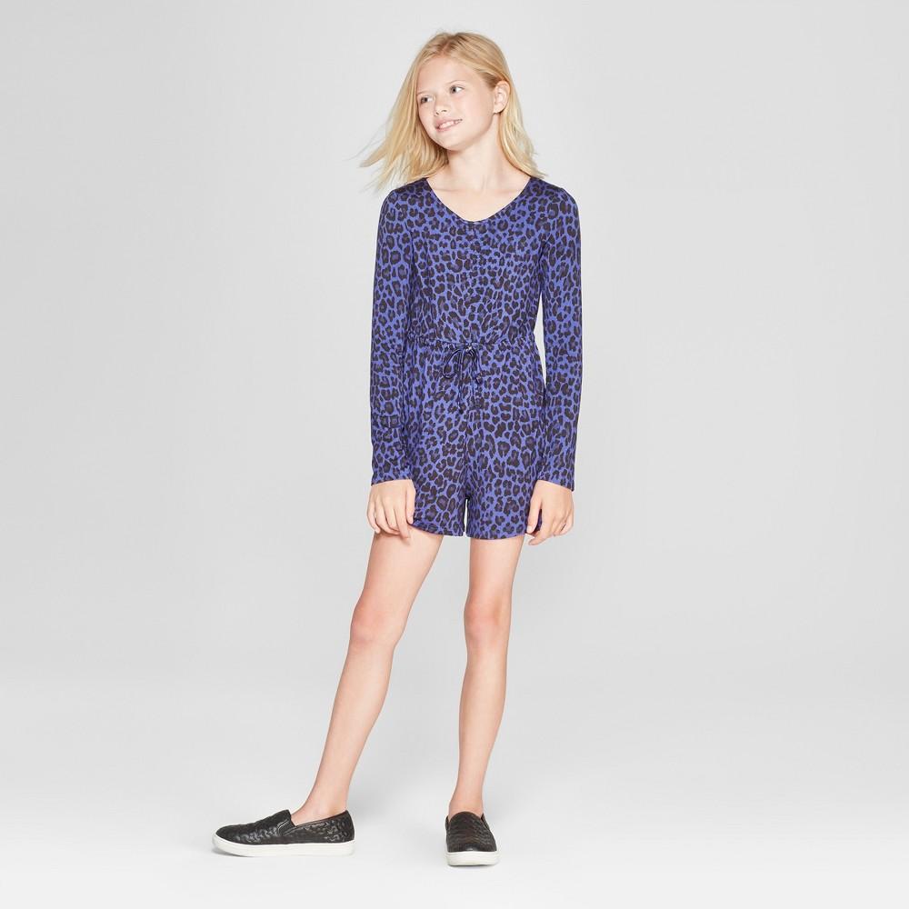 Girls' Long Sleeve Ruched Romper - art class Blue XS