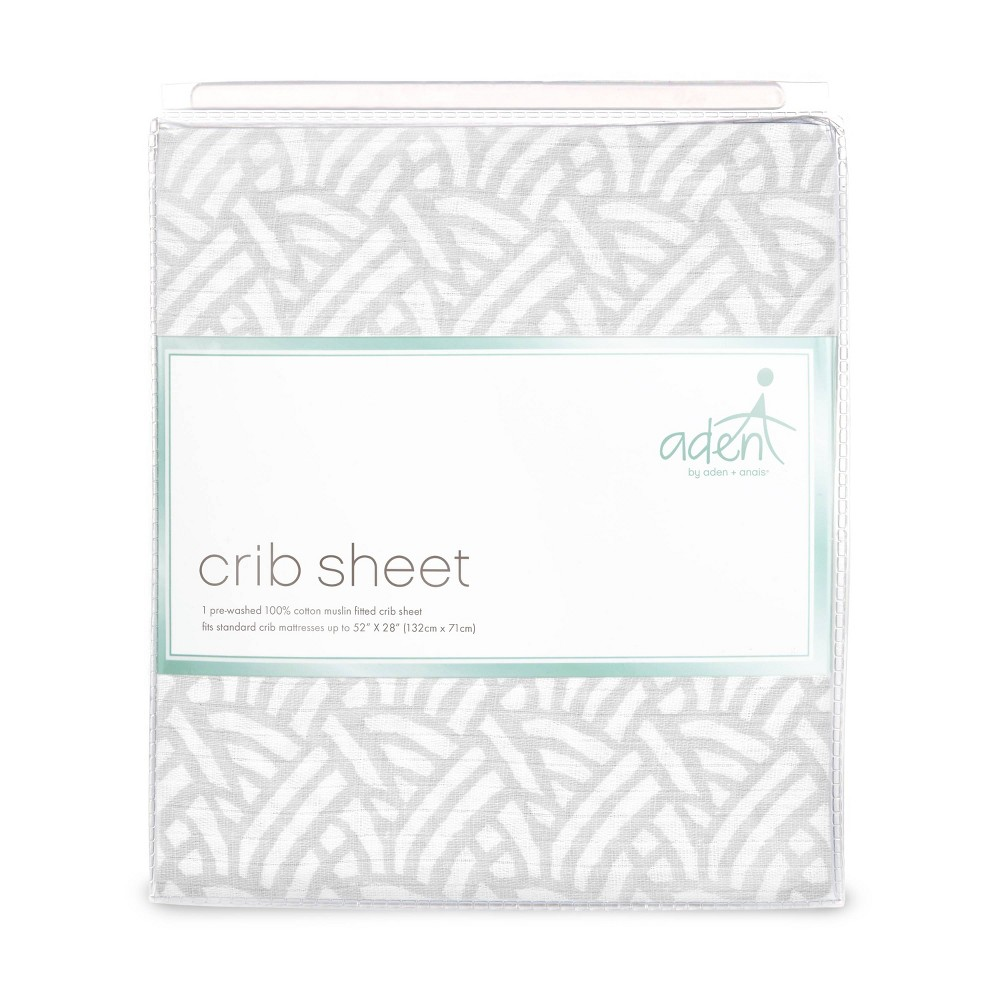 Image of aden by aden + anais Crib Sheet - Pasture - Gray, Gray Pasture