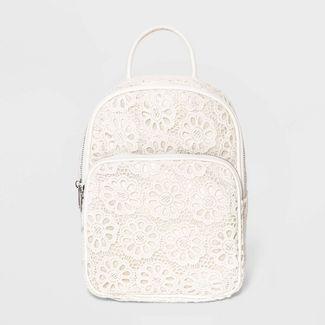 Girls' Crochet Mini Backpack - art class™ Cream