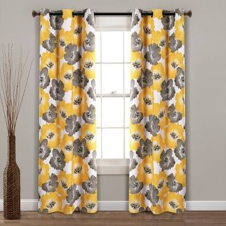 """Set of 2 38""""x84""""Julie Floral Insulated Grommet Blackout Window Curtain Panels Yellow/Gray - Lush Décor"""