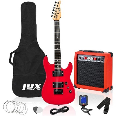 LyxPro 36 Inch Electric Guitar and Kit for Kids with 3/4 Size Beginner's Guitar, Amp, Six Strings, Two Picks, Shoulder Strap, Digital Clip On Tuner, Guitar Cable and Soft Case Gig Bag -Red