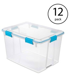 Sterilite 80 Quart Plastic Home Storage Gasket Box Container, Clear (12 Pack)