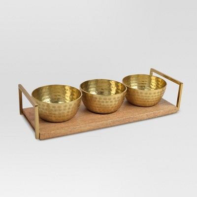 Decorative Metal Bowls w/Tray Gold 4pc - Threshold™