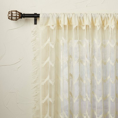 All Over Zig Zag Macrame Sheer Curtain Panel Cream - Opalhouse™ designed with Jungalow™