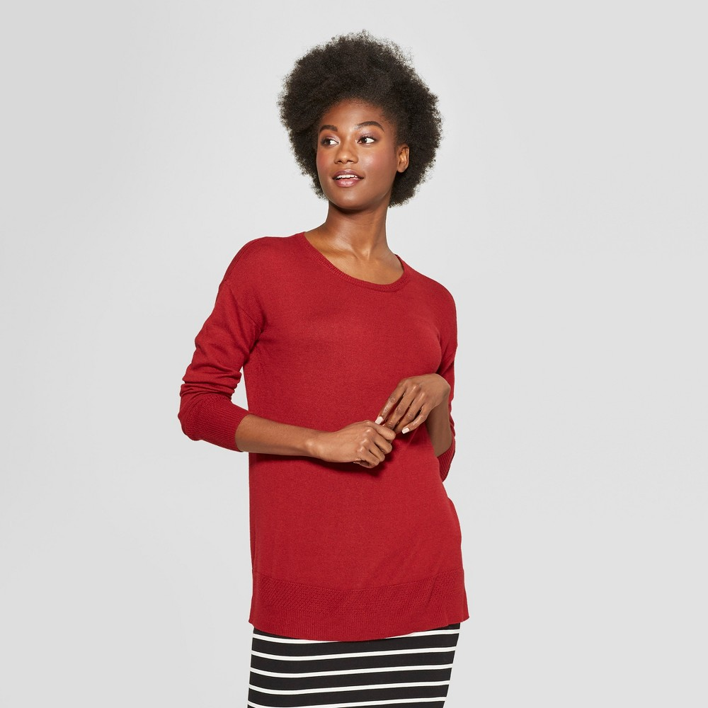 Women's Crew Neck Luxe Pullover Sweater - A New Day Dark Red XL