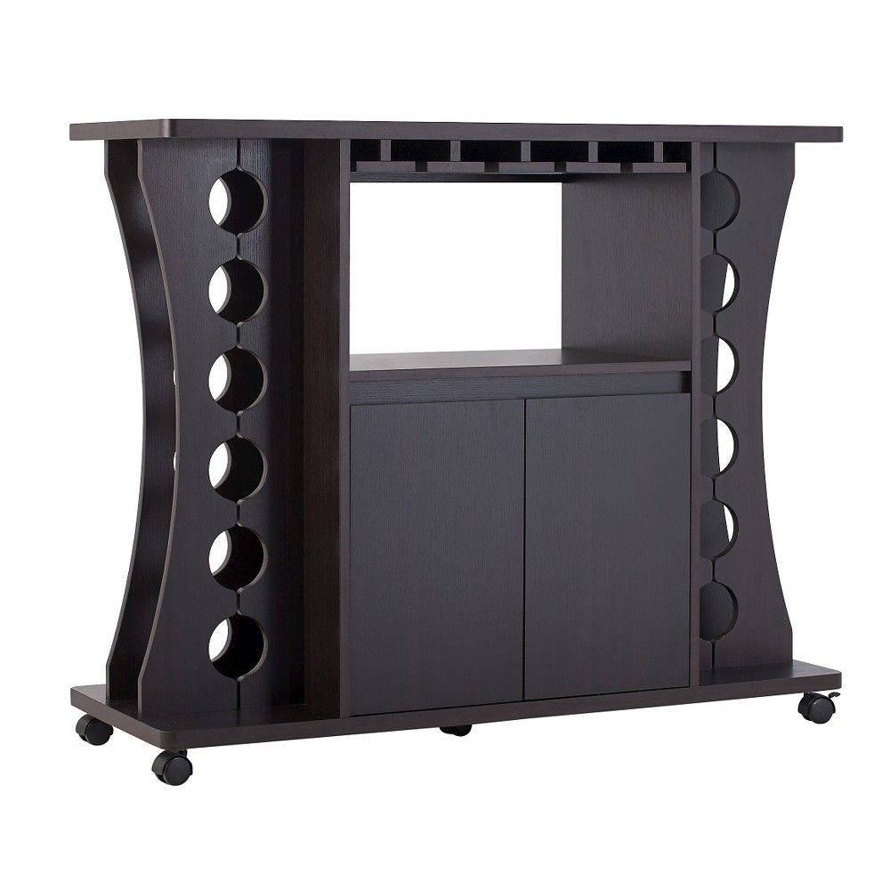 Claren Curved Standing Wine Rack Wood/Espresso (Brown) - Homes: Inside + Out