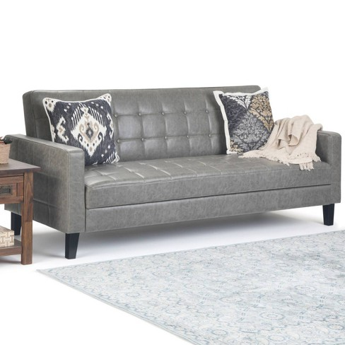 Massey Click-Clack Sofa Bed with Lift Up Seat Storage Distressed Taupe Faux  Leather - Wyndenhall