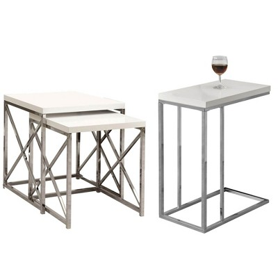 Monarch Specialties Contemporary Accent 3 Piece Nesting End Tables, Glossy White