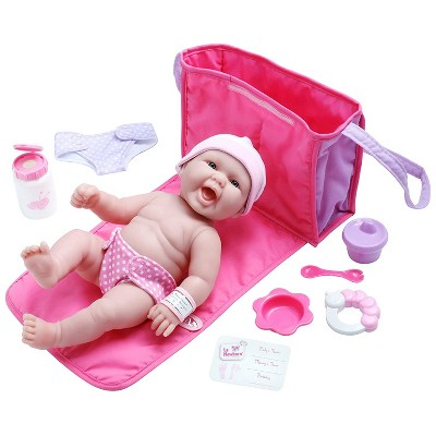 "JC Toys La Newborn 13"" Baby Doll with 7pc Diaper Bag Set"