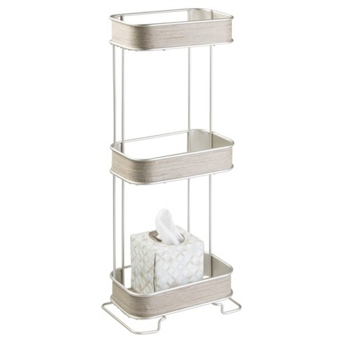Realwood Free Standing Bathroom Storage Shelves 3 Tiers Satin Gray Wood Finish Interdesign