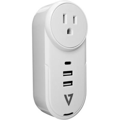 V7 1 Outlet, Rotating Travel Surge 400J w/USB-C - 1 x NEMA 5-15R, 2 x USB - 1875 VA - 400 J - 120 V AC, 230 V AC Input