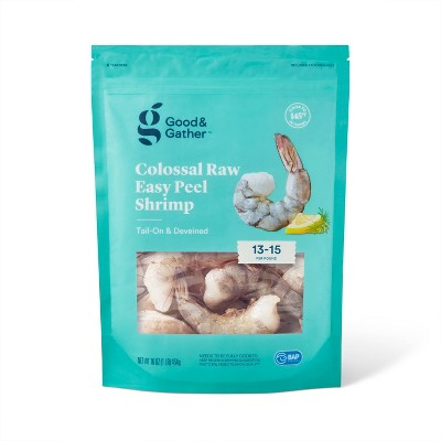 Colossal Easy Peel Tail On & Deveined Raw Shrimp - Frozen - 13-15ct/16oz - Good & Gather™