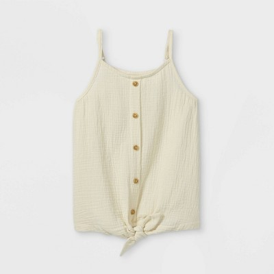 Girls' Button-Front Woven Tank Top - Cat & Jack™ White