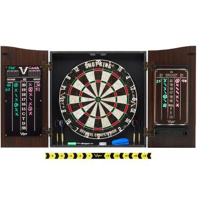 Viper Vault Deluxe Dartboard Cabinet with Shot King Sisal Dartboard and Illumiscore Scoreboard