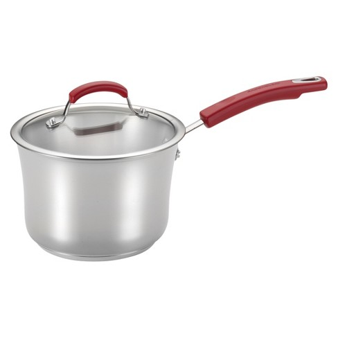 Rachael Ray Stainless Steel II 3-1/2-Quart Covered Saucepan, Red Handles - image 1 of 2