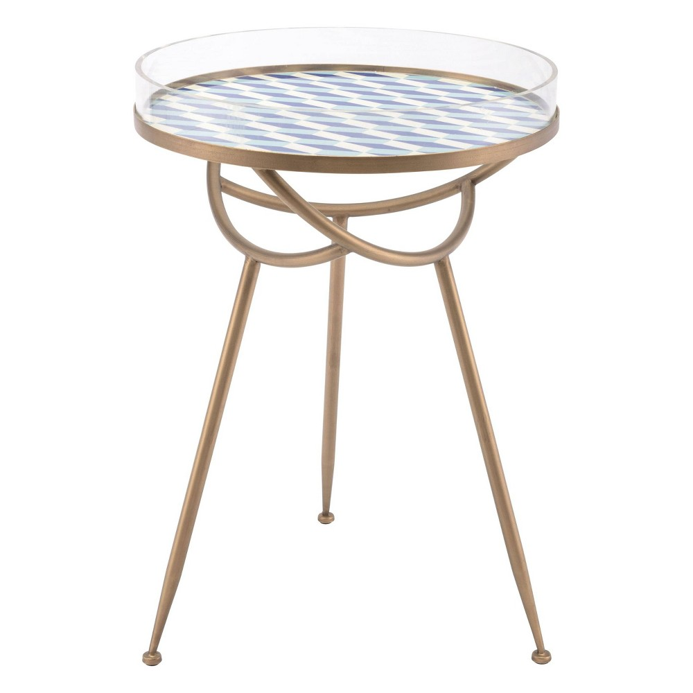 """Image of """"18"""""""" Tribal Round Steel and Acrylic Accent Table - Gold & Blue - ZM Home"""""""