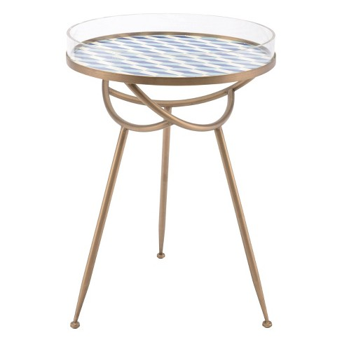 "18"" Geometric Round Steel and Acrylic Accent Table - Gold & Blue - ZM Home - image 1 of 4"