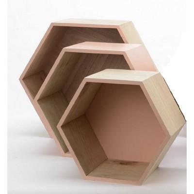 "Kaemingk Set of 3 Beige Contemporary Hexagonal Shadow Boxes 15.5"""