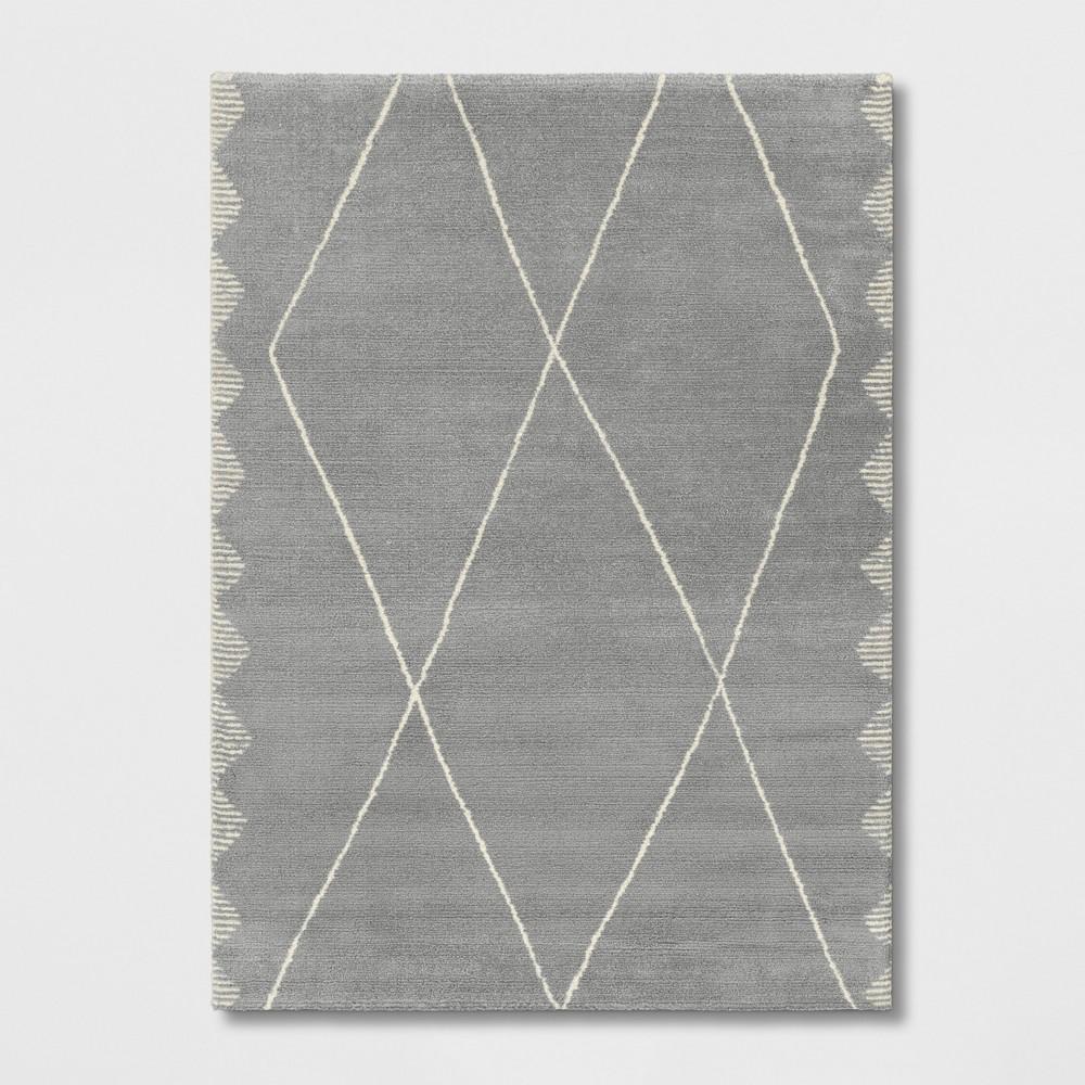 5'X7' Woven Diamond Area Rug Gray - Project 62