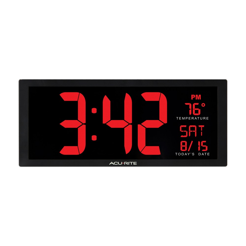 Image of 14.5 Digital Clock with Indoor Temperature Red - AcuRite