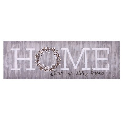 12 x36  Home is Where Our Story Begins Canvas Art Gray - Patton Wall Decor