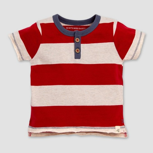 d74c41a70 Burt's Bees Baby® Baby Boys' Rugby Striped Henley T-Shirt - Red/Off White